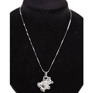 Raffa 18K White Gold Teddy Bear Pendant Necklace