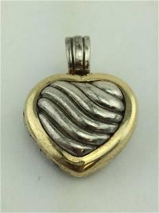 David Yurman Silver 18K Gold Cable Heart Locket