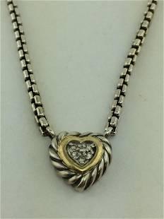 David Yurman Silver 18K Gold Diamond Heart Necklace
