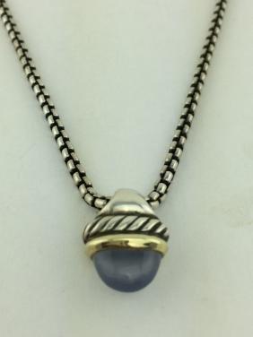 David Yurman Silver 14K Gold Chalcedony Acorn Necklace