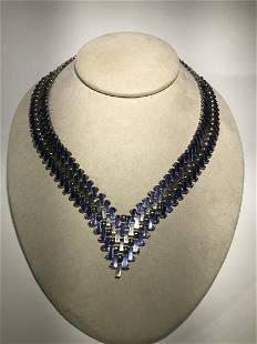 Jacob Bengals Art Deco Blue Enamel Chevron Necklace