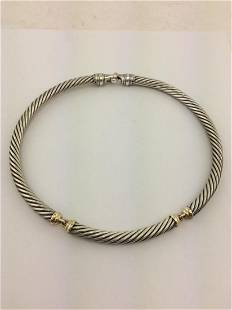 David Yurman Sterling 14K Gold Cable Choker Necklace