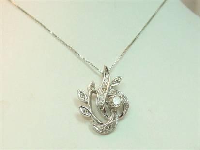 Vintage 14K Gold White Gold Diamond Necklace
