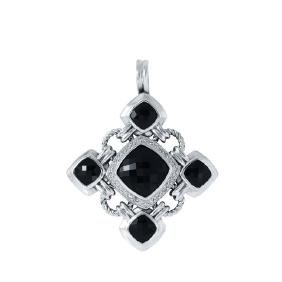 David Yurman Silver Black Onyx Diamond Pendant, 16.9ctw