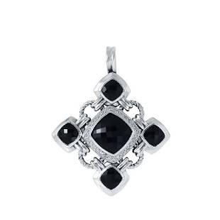 David Yurman Silver Black Onyx Diamond Pendant, 16.9ctw