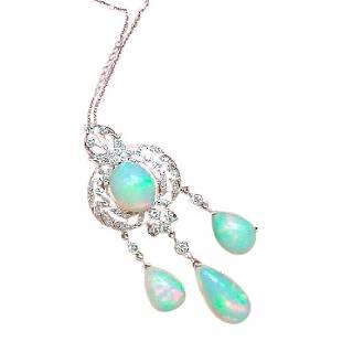 Edwardian Style Diamond Opal Chandelier Necklace