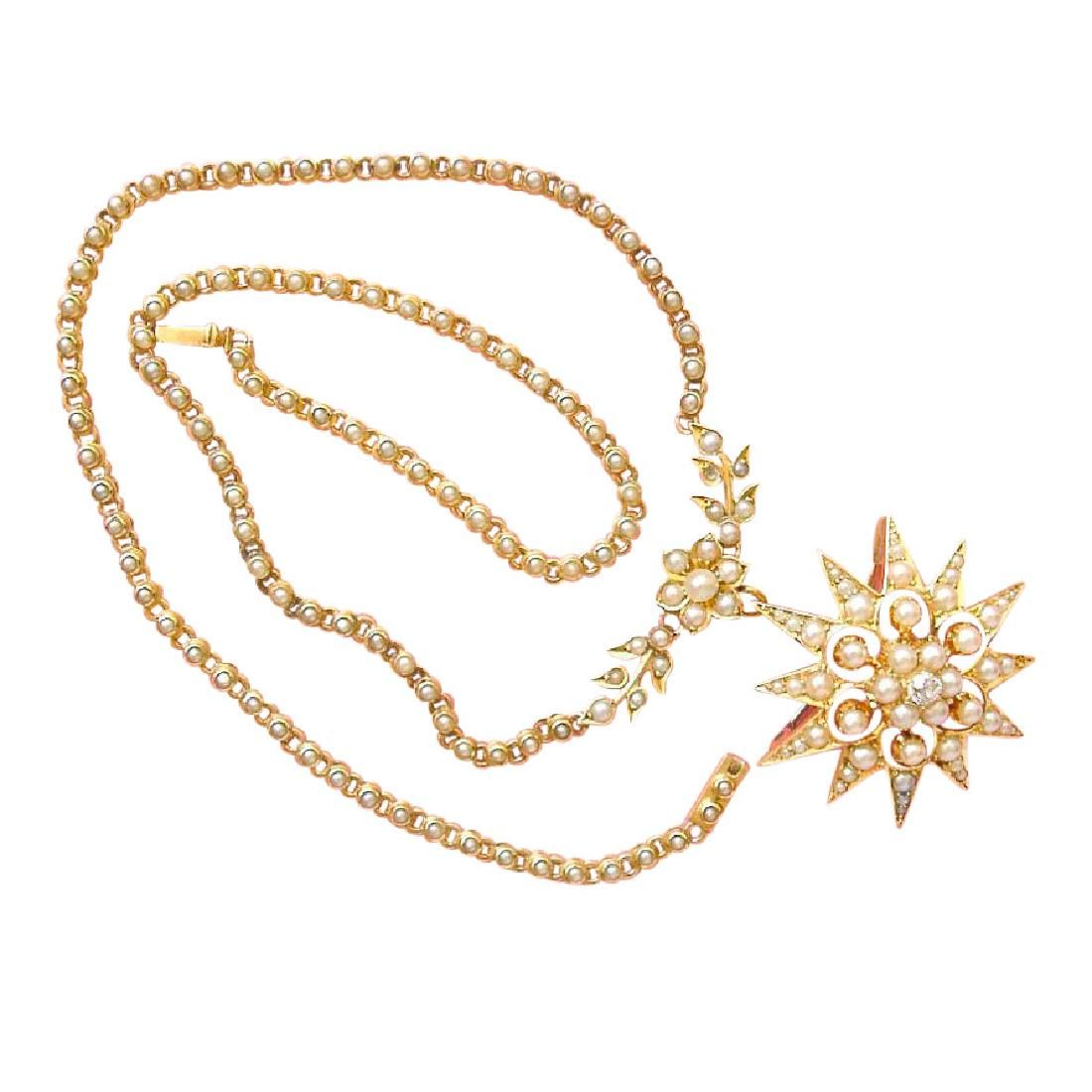 Victorian Gold Diamond Pearl Star Brooch Necklace, 1880