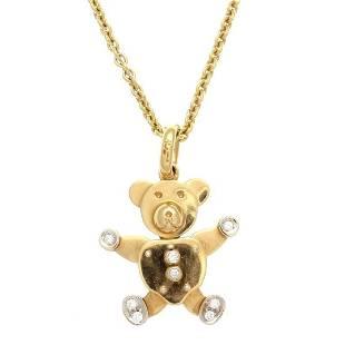 Pomellato 18K Gold Diamond Teddy Bear Necklace