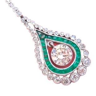 Estate Edwardian Platinum Diamond Emerald Necklace