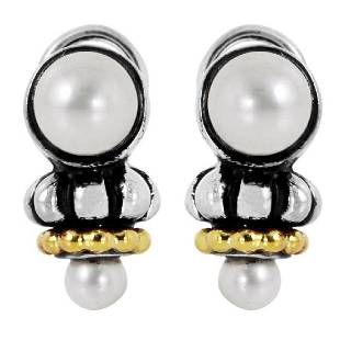 Lagos Caviar Sterling Silver 18K Gold Earrings