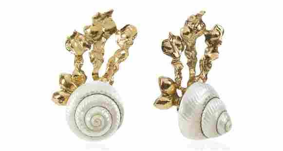 YSL Natural Shell Gilt Seaweed Climber Earrings