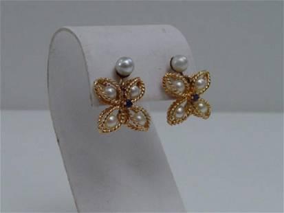 Vintage 14K Gold Pearl & Sapphire Earrings