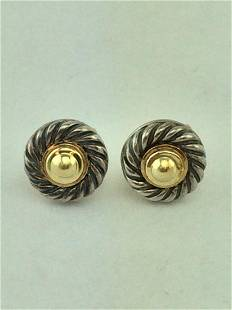 David Yurman Silver 14K Gold Small Cookie Earrings