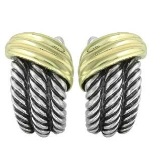 David Yurman Two Tone Sterling Gold Shrimp Earrings