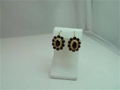 Vintage 18K Gold Oval Garnet Lever Back Earrings