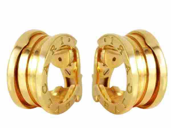 Bvlgari 18K Yellow Gold Hoop Earrings