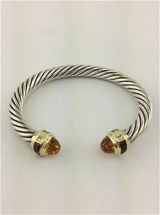 David Yurman Garnet Topaz Cable Cuff Bracelet