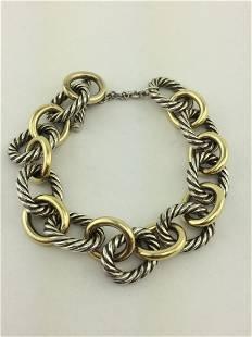 David Yurman Sterling 18K Gold Oval Link Bracelet