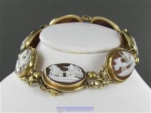 Vintage 14K Gold 7 Cameo Bracelet