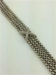 David Yurman 4-Row Box Chain Pave Diamond X Bracelet