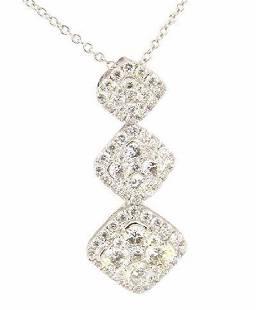 18K White Gold Diamond Tiered Cluster Pendant