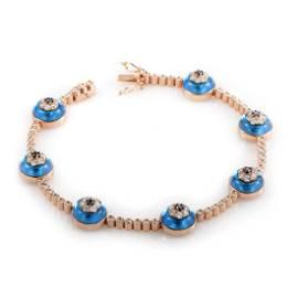 18K Rose Gold Diamond Topaz Evil Eye Bracelet