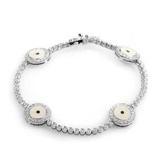 18K White Gold Diamond Evil Eye Bracelet