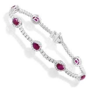 18K White Gold Diamond & Ruby Tennis Bracelet