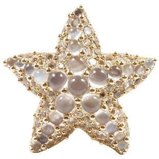 Pomellato Moonstone White Topaz 18K Gold Starfish Ring