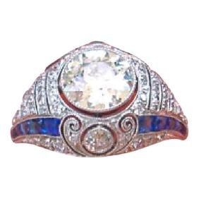 Antique Art Deco Diamond Sapphire Platinum Ring, 1920