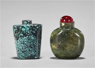 Two Chinese Snuff Bottles: Turquoise & Labradorite