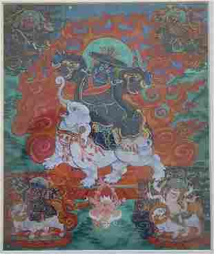 Tibetan Thangka Gyayin - King of the Mind, 18th C