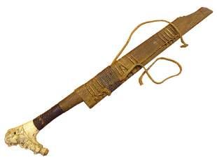 19C Indonesia Borneo Tribal Sword w Cattle Bone Carving