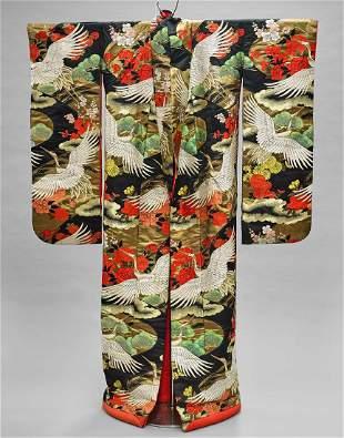 Japanese Embroidered Silk Kimono & 'Iko' Stand
