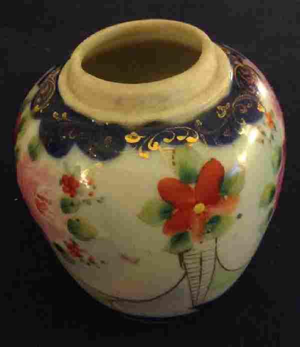 Oriental Asian Handpainted Gilt Flower Decor Vase