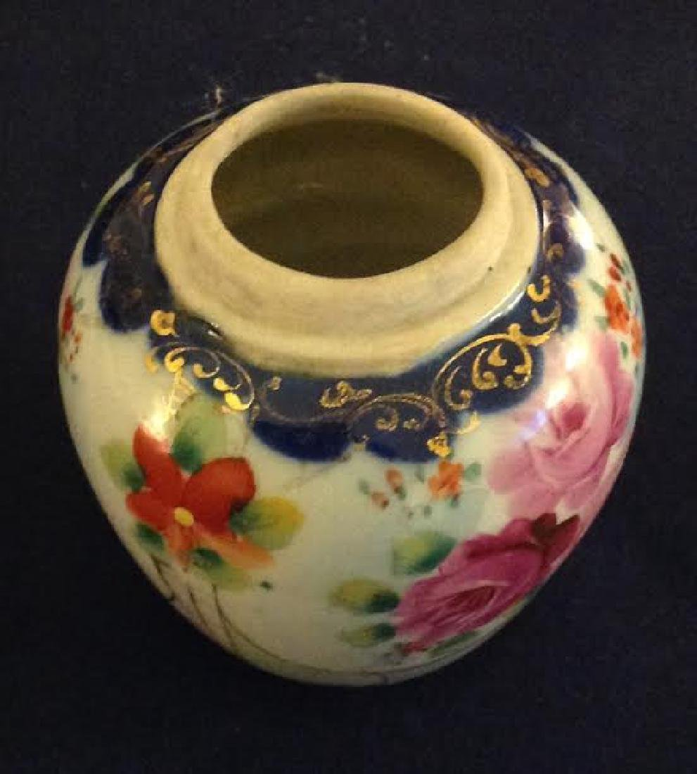 Oriental Asian Handpainted Gilt Flower Decor Vase - 2