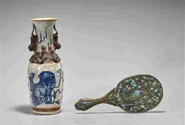 Antique Chinese Crackle Glazed Vase & Bronze Mirror
