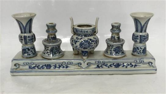 Modern Chinese Blue & White Candle Holder