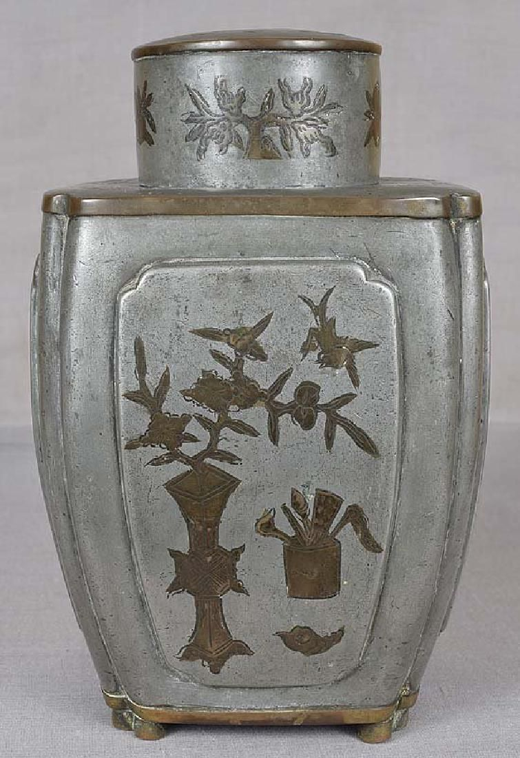 Chinese Pewter Tea Caddy Inlaid Scholar Objects, 18th C