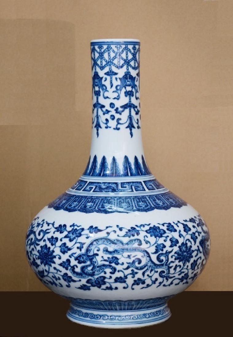 Qing Period Blue White Qianlong Mark Vase, 18th C