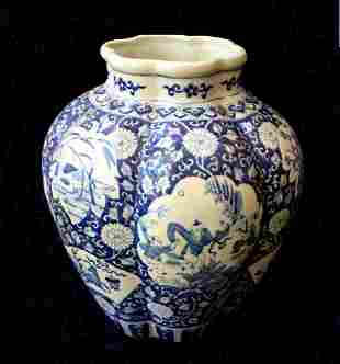 Qing Period Blue White Scenery Jar, 18th C