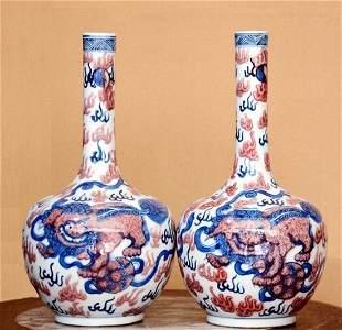Qing Period Pair of Famille Rose Kilin Vases, 18th C