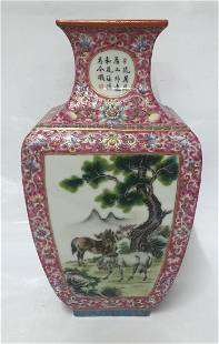 Chinese Famille Rose Vase With Mark, Qing Period