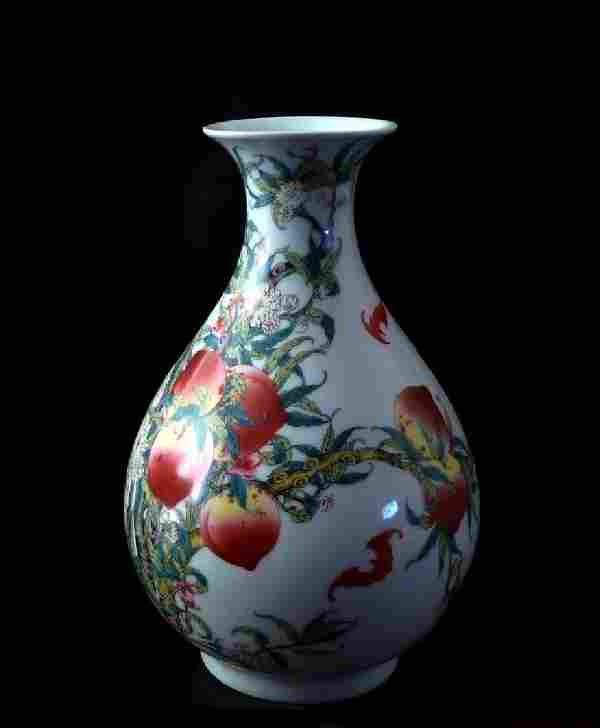 Qing Period Famille Rose Vase, Chien Lung Mark, 18th C