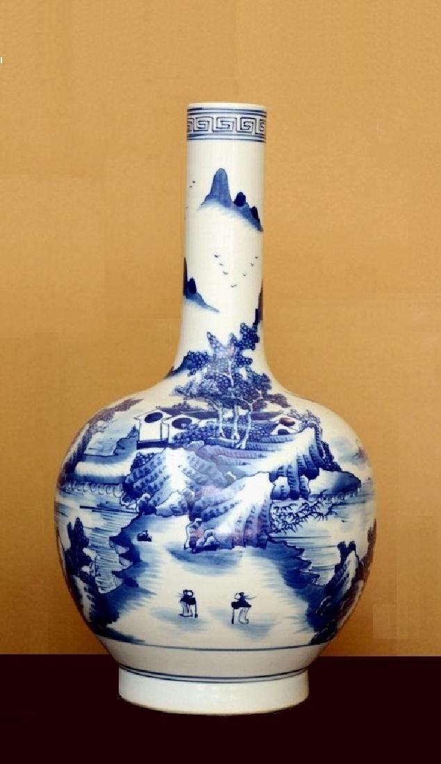 Chinese Blue White Scenery Kangxi Mark Vase, 18th C