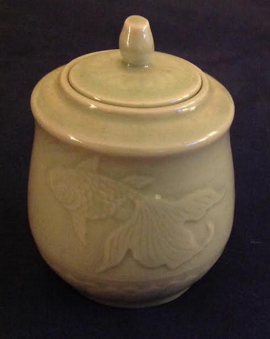 Oriental Glazed Etched Porcelain Lidded Sugar Bowl