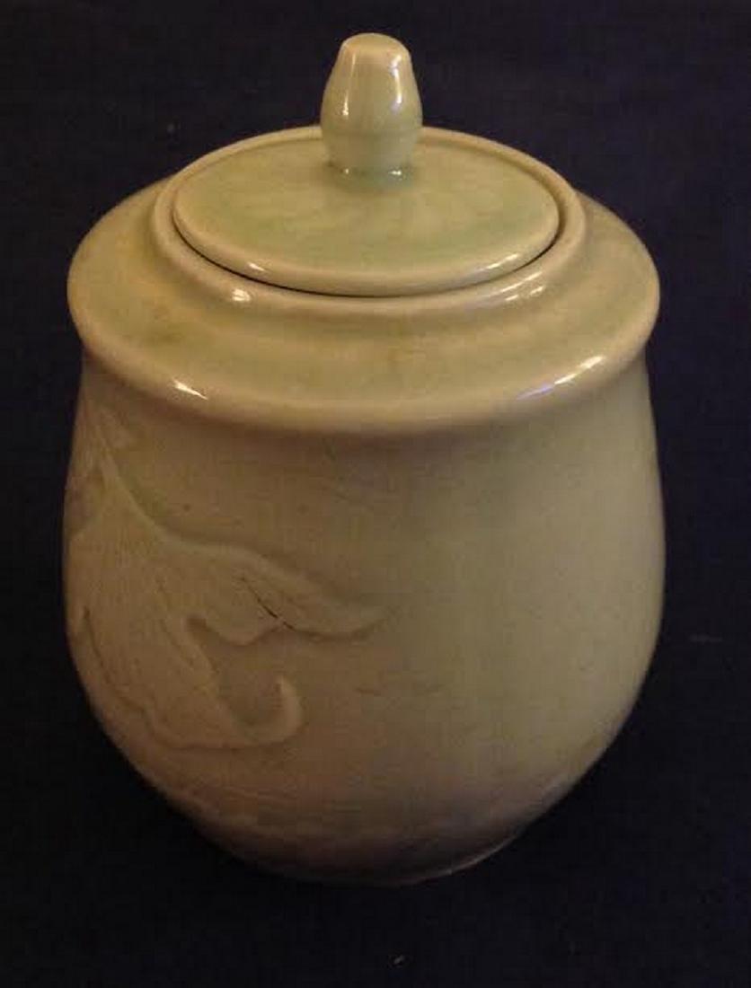 Oriental Glazed Etched Porcelain Lidded Sugar Bowl - 2