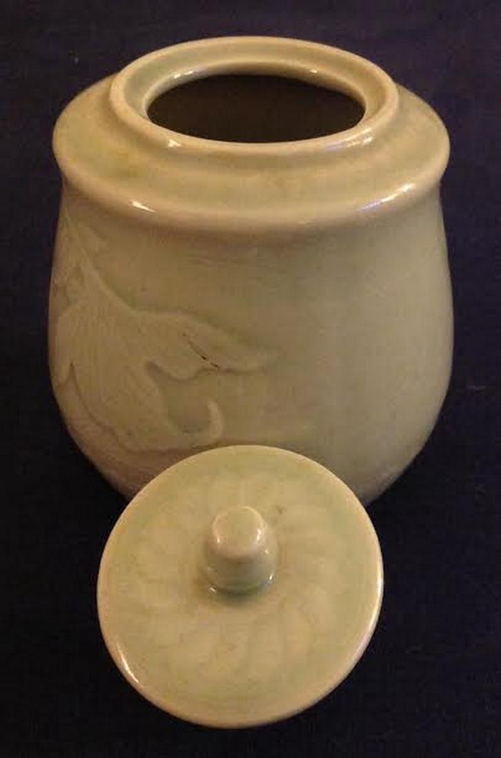 Oriental Glazed Etched Porcelain Lidded Sugar Bowl - 3