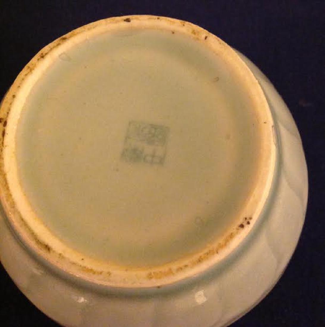 Oriental Glazed Etched Porcelain Lidded Sugar Bowl - 4