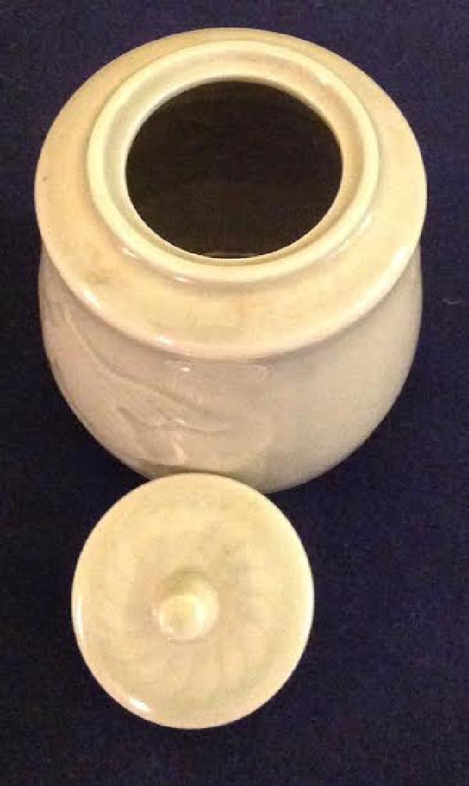 Oriental Glazed Etched Porcelain Lidded Sugar Bowl - 6